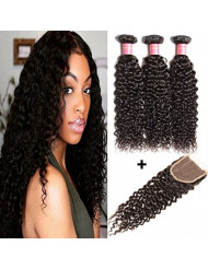 """YIROO Beauty 9A Brazilian Curly Hair Extensions 3 Bundles with 4""""4"""" Free Part Lace Closure 100% Unprocessed Virgin Human Hair Weft Natural Color (12 14 16+12 inch closure)"""