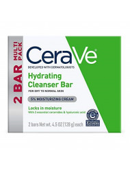 CeraVe Hydrating Cleanser Bar | 2 Pack (4.5 Ounce) | Soap-Free Body and Face Cleanser Bar | Packaging May Vary