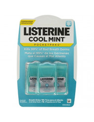 Listerine PocketPaks Breath Strips Cool Mint 72 Each (Pack of 12)