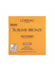 L'Oreal SUBLIME BRONZE Self-Tanning Towelettes For Body Medium Natural Tan 6 Each (Pack of 3)