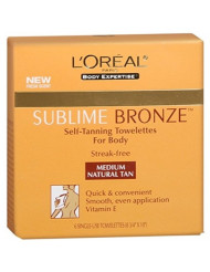 L'Oreal SUBLIME BRONZE Self-Tanning Towelettes For Body Medium Natural Tan 6 Each (Pack of 5)