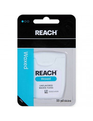 REACH Unflavored Waxed Dental Floss, 55 yds (Pack of 10)
