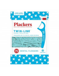PLACKERS Twin-Line Dental Flossers, Cool Mint 75 each(Pack of 12)