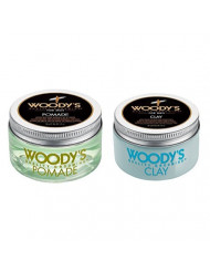 Woody's Pomade for Men, Pomade, 3.4 oz + Grooming Clay 3.4 oz