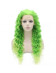 Two Tone Green Curly Lace Front Synthetic Wig Natural Stylish Fiber Green Curly Wig At Mxangel