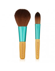 Ecotools Limited Edition Cruelty Free Boho Bamboo Mini Make Up Brush Set Made With Recycled Aluminum and Recycled Plastic Materials, Featuring 2 Brushes