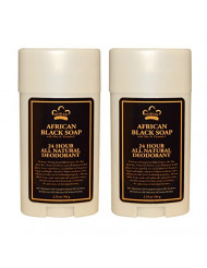 Nubian Heritage 24 Hour All Natural Deodorant African Black Soap With African Black Soap Extract, Shea Butter, Grapefruit Seed Extract, Vitamin E and Sandalwood Oil, 2.25 oz (64 g) each