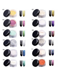 Yosoo 12 COLORS 2g/Box Glitter Magic Mirror Chrome Effect Dust Twinkle Nail Art Powder