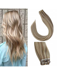 Sunny Hair Extensions Highlighted 20 inch Tape in Human Hair Extensions #18 Ash Blonde Highlights #613 Blonde Tape in Hair Extensions Balayage Hair Extensions 10PC 25G