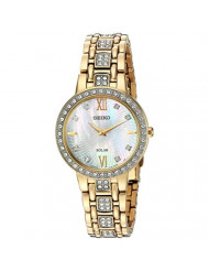 Seiko Women's Ladies Crystal Dress Japanese-Quartz Watch with Stainless-Steel Strap, Gold, 14 (Model: SUP364)