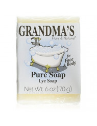 Grandma's Pure Lye Soap Bar - 6.0 oz Unscented Face & Body Wash Cleans with No Detergens, Dyes & Fragrances - 60018
