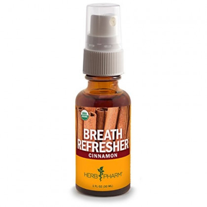 Herb Pharm Breath Refresher Certified Organic Herbal Fresh Breath Spray, Cinnamon