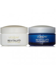 L'Oreal Paris RevitaLift Anti-Wrinkle + Firming Bundle: Day Cream SPF 25 and Night Cream, 1.7 Ounce Each