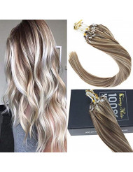 Sunny 16inch Micro Loop Hair Extensions Human Hair Light Brown Highlight with Blonde Micro Rings Beads Hair Extensions Real Human Hair 50g