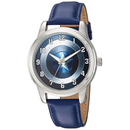MARVEL Men's Captain America Analog-Quartz Watch with Leather-Synthetic Strap, Blue, 18 (Model: WMA000006)