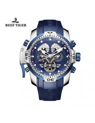 REEF TIGER Military Watches for Men Stainless Steel Blue Dial Watch Sport Autoamtic Watches RGA3503 (RGA3503-YLBB)