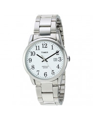 Timex Men's TW2R23300 Easy Reader 38mm Silver-Tone/White Stainless Steel Bracelet Watch