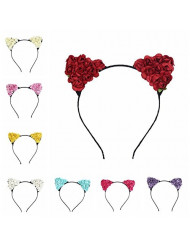 Bodermincer Pack of 9 Stylish Girls Cat Ears Headband Lace Hair Band Sexy Head Band Self Photo Prop Baby Children Accessories Cosplay Party (9PCS)