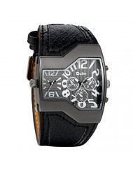 Avaner Cool Men Military Sports Watch Dual Movt 2 Time Display Quartz Wrist Watch with Black Leather Band