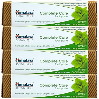 Himalaya Complete Care Toothpaste - Simply Peppermint 5.29 oz/150 gm (4 Pack) Natural, Fluoride-Free & SLS-Free