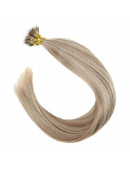 Sunny 24inch Remy Human Nano Ring Hair Extensions Two Tone Color Dark Ash Blonde with Golden Blonde Highlights Micro Loop Nano Ring Hair Extensions Human Hair