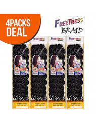 """FreeTress Synthetic Hair Crochet Braids 2X Soft Faux Loc Curly 12"""" (4-Pack, 1B)"""