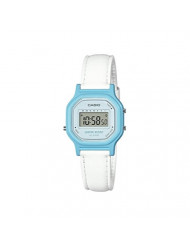 Casio Women's Classic Quartz Watch with Leather-Synthetic Strap, White, 14.8 (Model: LA-11WL-2ACF