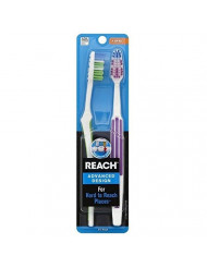 Reach Advanced Design Full Head Soft Toothbrush, Assorted Colors, 2 Count (Pack of 2) Total 4 Toothbrushes