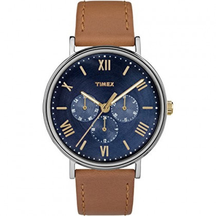 Timex Unisex TW2R29100 Southview 41mm Multifunction Tan/Blue Leather Strap Watch