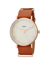 Timex Men's TW2R28800 Southview 41mm Tan/Rose Gold-Tone/White Leather Strap Watch