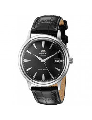 Orient Men's 2nd Gen. Bambino Ver. 1 Stainless Steel Japanese-Automatic Watch with Leather Strap, Black, 21 (Model: FAC00004B0)