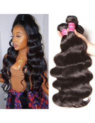 Jolia Hair Brazilian Body Wave Human Hair 3 Bundles 22 24 26 inch - Cuticle Aligned Heat Friendly - 8A Unprocessed Virgin Wavy Hair Weave Natural Black Can be Dyed