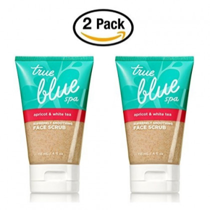 Apricot and White Tea Face Scrub 4 fl oz.- True Blue Spa by Bath & Body Works - Skin Smoothing Face Wash (Pack of 2)