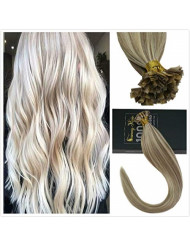 Sunny 24inch Dark Ash Blonde Highlights Blonde #18/613 100 Real Flat Tip Hair Extensions Pre Bonded Keratin Human Hair Extensions for Woman 1G/1S 50G