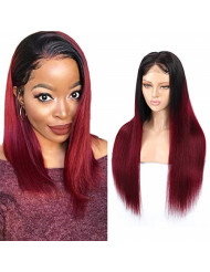 """RACILY Ombre Straight Human Hair Wigs 1 Piece Lace Front Wigs Composed of Lace Closure with Hair Bundles (20"""" Wig, 250% Density, 1B/Burgundy)"""