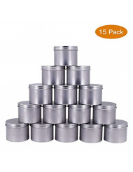 Healthcom 15 Pack of 4 oz Screw Top Steel Tins Round Tin Cans Aroma Hair Wax Cosmetic Cream Make Up Pot Tea Tin Case Container(120g)