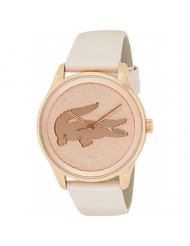Lacoste Women's Victoria Stainless Steel Quartz Watch with Leather Strap, Pink, 19 (Model: 2000997)