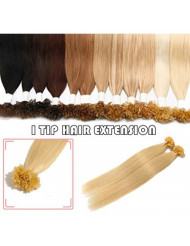 """S-noilite 20"""" 100 Strands Straight Pre Bonded U Tip Remy Human Hair 0.5g/strand 50grams/pack Keratin Fusion Hair Extensions for Women Nail Tips Hair Piece #613 Bleach Blonde"""