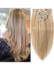 Standard Weft 22 Inch 110g Clip in 100% Real Remy Human Hair Extensions 8 Pieces 18 Clips #12/613 Golden Brown/Bleach Blonde