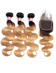"""XCCOCO Grade 8A Brazilian Body Wave 3 Bundles With Free Part Lace Closure Black to Blone Ombre Two Tone Virgin Human Hair Weft Weaves (T1B/27#, 18""""20""""22""""+16"""")"""