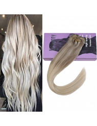 VeSunny 14inch Clip in Full Head Human Hair Extensions Color #18 Ash Brown Fading to #22 Light Blonde Mixed #60 Platium Blonde Extensions Clip in 7pcs 120g