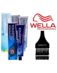 Wella KOLESTON Perfect Permanent Creme Haircolor, 2 oz (with Sleek Tint Brush) (5/0 Light Brown Natural)