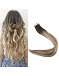 "Fshine 14"" Pu Tape in Human Hair Extensions 20 Pcs 50 Gram Per Package Color #3 Fading to #6 and #22 Blonde Ombre Hair Extensions Human Hair Tape in Extensions"