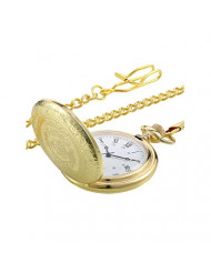 Pangda Vintage Pocket Watch Gold Steel Men Watch with Chain for Fathers Day Gift