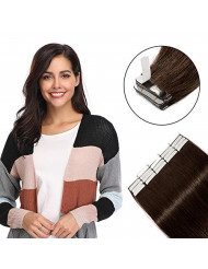 """Tape in Hair Extensions 100g 40 Pieces 100% Remy Human Hair 16"""" 18"""" 20"""" 22"""" Double Side Tape Seamless Skin Weft Natural Hair Extensions 40pcs Long Straight Silky (16 inch,#2 Dark Brown)"""