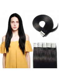"""Tape in Hair Extensions 100g 40 Pieces 100% Remy Human Hair 16"""" 18"""" 20"""" 22"""" Double Side Tape Seamless Skin Weft Rooted Tape on Human Hair Extensions 40pcs Long Straight Silky (20 inch,#1 Jet Black)"""