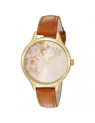 Timex Women's TW2R66900 Crystal Bloom Tan/Gold Floral Accent Leather Strap Watch