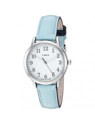 Timex Women's TW2R62900 Easy Reader 30mm Blue/Silver-Tone Leather Strap Watch