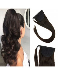 Sunny Clip in Ponytail Hair Extensions Brown 20 inch Human Hair One Piece Extensions Remy Hair Brown Ponytail #2 Wrap Around Straight Ponytail Clip in 80 Grams