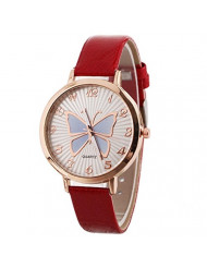 Women's Butterfly Watches Creative Pattern Quartz Watch Leather Strap Belt Table Watch (Red)